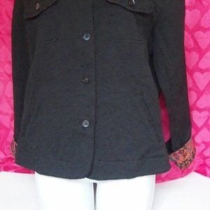 Chico's Size 1 Black Textured  Button Up Jacket Wo